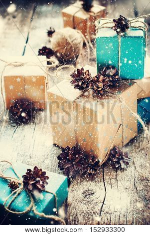 Festive Boxes Packed Brown Blue Paper Cord Wooden