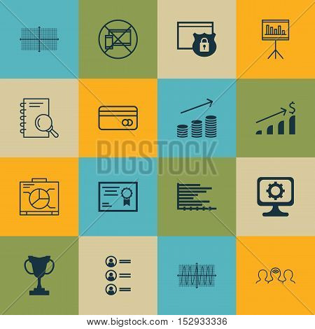 Set Of 16 Universal Editable Icons For Travel, Marketing And Business Management Topics. Includes Ic