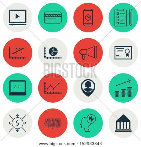 Set Of 16 Universal Editable Icons For Business Management, Transportation And School Topics. Includ