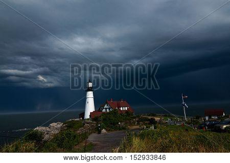 Storm approaching Portland Head Light, Cape Elizabeth Maine