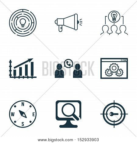 Set Of 9 Universal Editable Icons For Airport, Advertising And Business Management Topics. Includes
