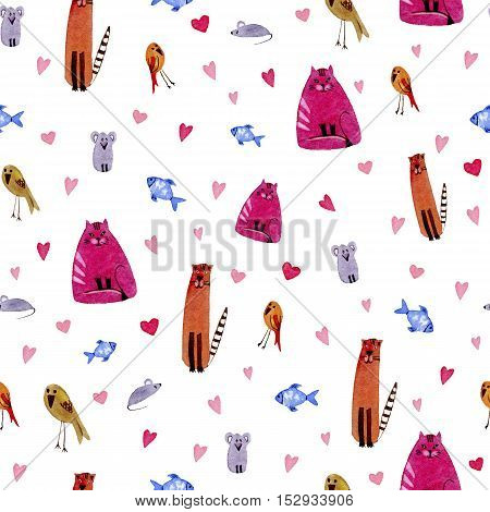 Cat,mouse,bird,fish and hearts.Watercolor hand drawn illustration. Colorful cats Texture. Seamless pattern with cats,bird,fish and mouse.