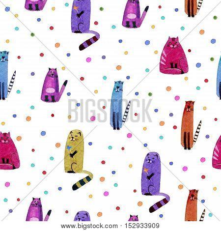 Cat and bubble.Watercolor hand drawn illustration. Colorful cats texture.Seamless pattern.