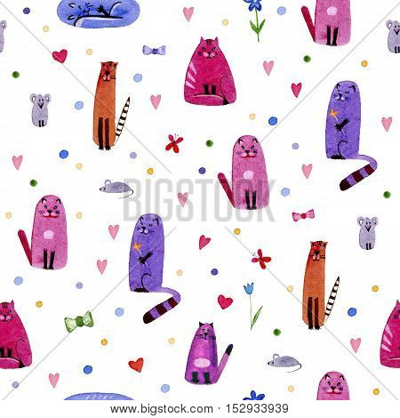 Cat,mouse and hearts.Watercolor hand drawn illustration. Colorful cats Texture. Seamless pattern with cats and mouse.