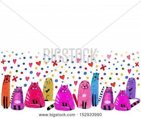 Cats,balls,butterfly and hearts on a white background.Watercolor hand drawn illustration.Colorful cats texture.Greeting card with cats.