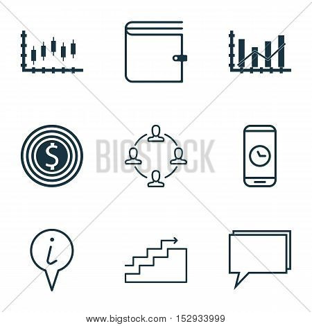 Set Of 9 Universal Editable Icons For Statistics, Transportation And Hr Topics. Includes Icons Such