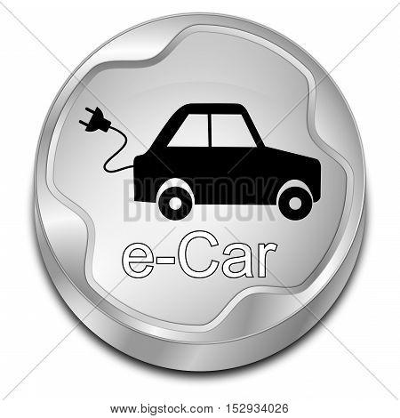 decoartive silver e-Car Button - 3D illustration