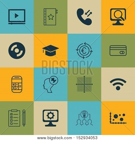 Set Of 16 Universal Editable Icons For Statistics, Project Management And Traveling Topics. Includes