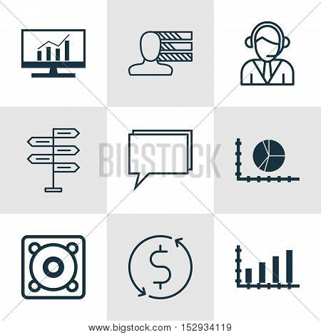 Set Of 9 Universal Editable Icons For Computer Hardware, Statistics And Advertising Topics. Includes
