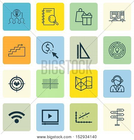 Set Of 16 Universal Editable Icons For Project Management, Business Management And Seo Topics. Inclu