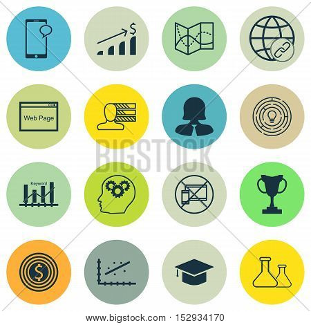Set Of 16 Universal Editable Icons For Education, Management And Statistics Topics. Includes Icons S