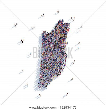 Large and creative group of people gathered together in the form of a map Belize, a map of the world. 3D illustration, isolated against a white background. 3D-rendering.