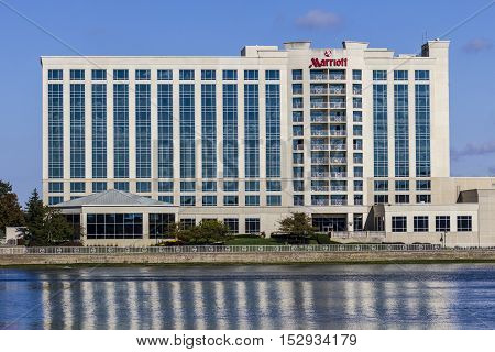 Indianapolis, IN - Circa October 2016: Marriott North Hotel. Marriott offers full-service hotels and resorts