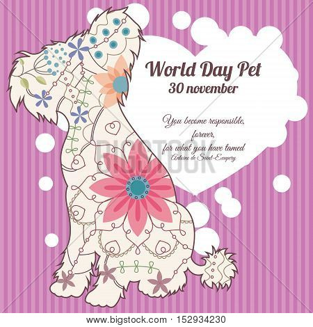 Vector world day pet background with chinese crested dog