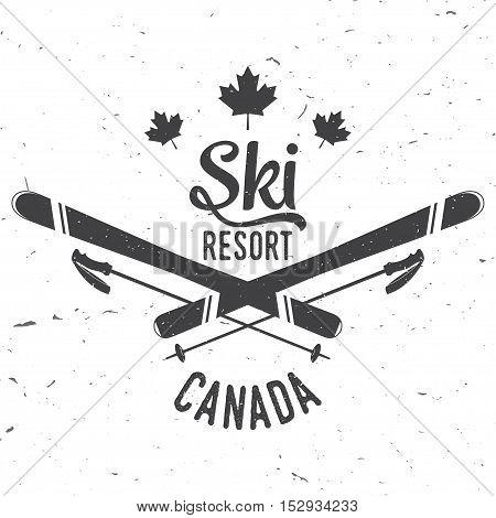 Ski resort, Canada. Concept for badge. shirt, print, seal or stamp. Ski resort typography design- stock vector.