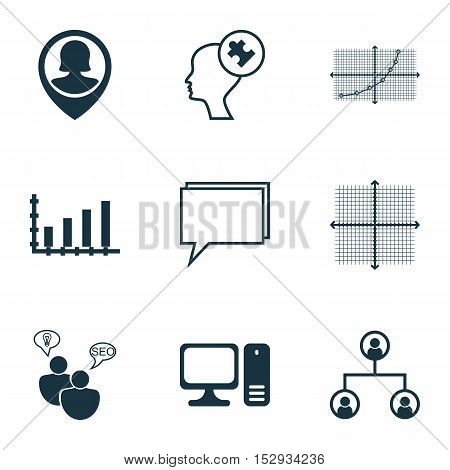Set Of 9 Universal Editable Icons For Computer Hardware, Advertising And Statistics Topics. Includes