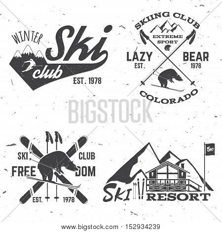 Ski club concept. Vector ski club retro badge. Concept for shirt, print, seal or stamp. Skis, mountain, bear and cottage. Typography design- stock vector. Family vacation, activity or travel. For logo design, patches or badges.
