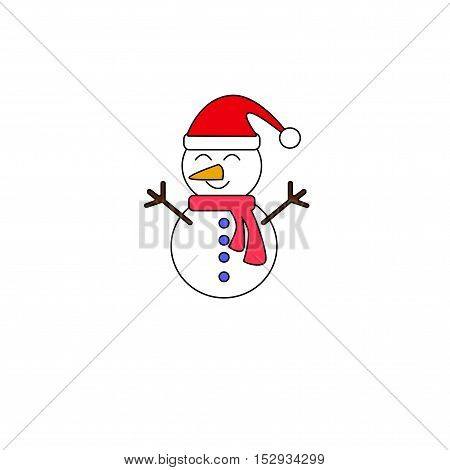 cartoon snowman vector isolated on white background