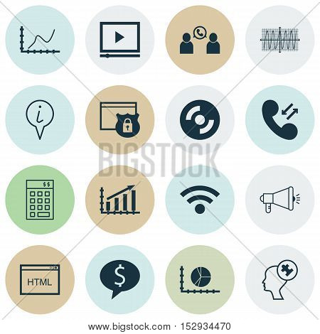Set Of 16 Universal Editable Icons For Project Management, Computer Hardware And Seo Topics. Include