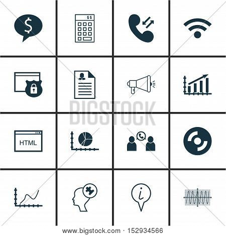 Set Of 16 Universal Editable Icons For Project Management, Business Management And Advertising Topic