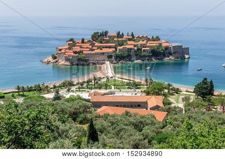 View on the Sveti Stefan island from the coastline in Montenegro. Travel concept.