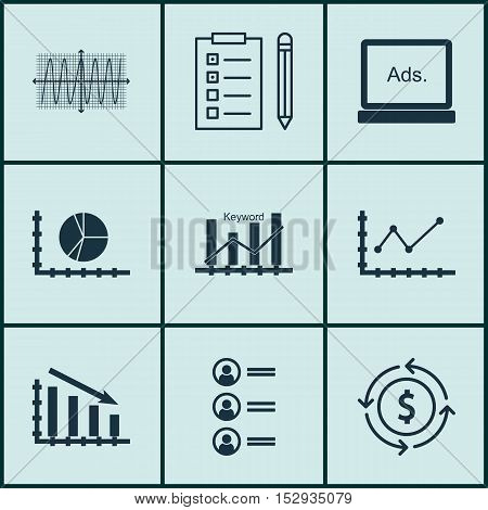 Set Of 9 Universal Editable Icons For Management, Tourism And Statistics Topics. Includes Icons Such