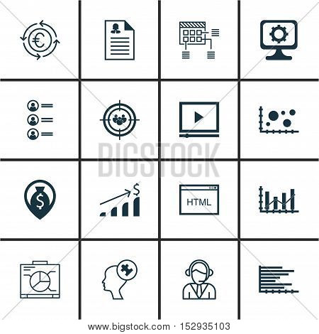 Set Of 16 Universal Editable Icons For Business Management, Hr And Seo Topics. Includes Icons Such A