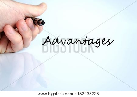 Advantages text concept isolated over white background