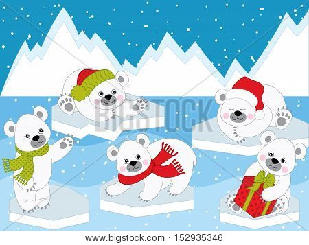 Vector Christmas cute baby polar white bears