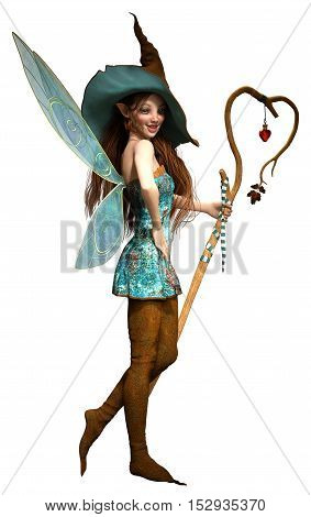 Fairy with staff and hat 3D illustration