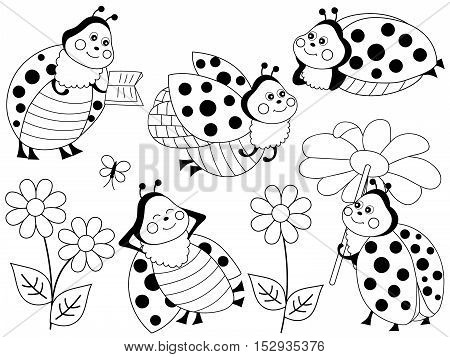 Vector black and white ladybugs with flowers and butterflies