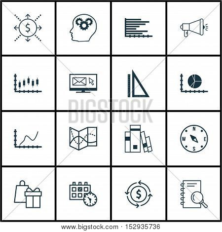 Set Of 16 Universal Editable Icons For Airport, Project Management And Advertising Topics. Includes