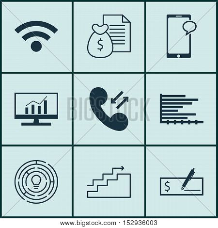 Set Of 9 Universal Editable Icons For Marketing, Computer Hardware And Project Management Topics. In