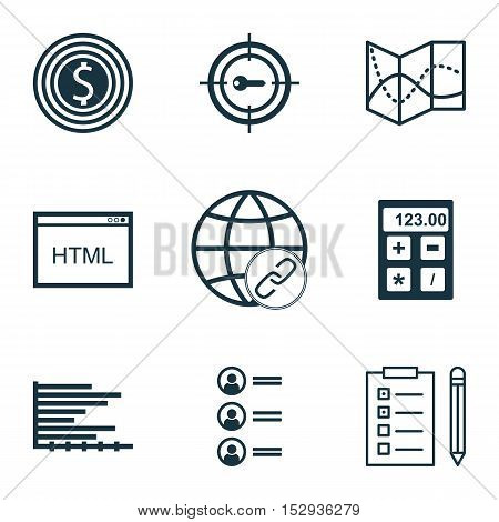 Set Of 9 Universal Editable Icons For Project Management, Statistics And Marketing Topics. Includes