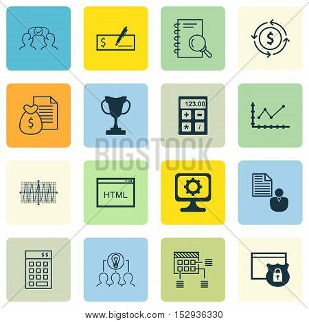Set Of 16 Universal Editable Icons For Human Resources, Management And Business Management Topics. I