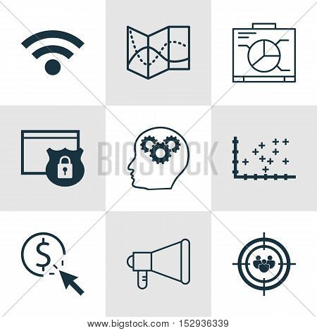 Set Of 9 Universal Editable Icons For Statistics, Airport And Seo Topics. Includes Icons Such As Ppc