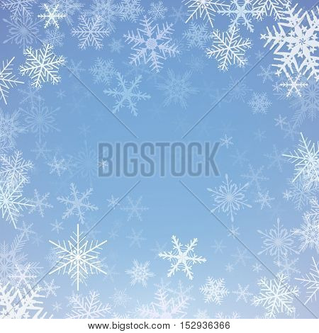Christmas background with snowflakes, winter vector  illustration