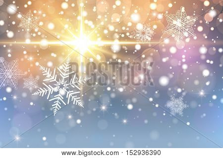 Christmas background with snowflakes, bokeh and lights - vector  illustration