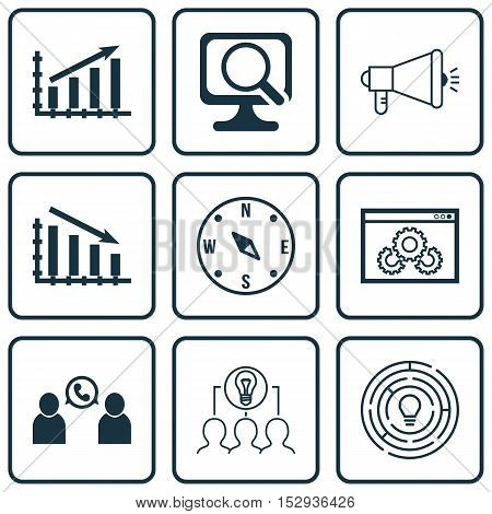 Set Of 9 Universal Editable Icons For Business Management, Seo And Computer Hardware Topics. Include