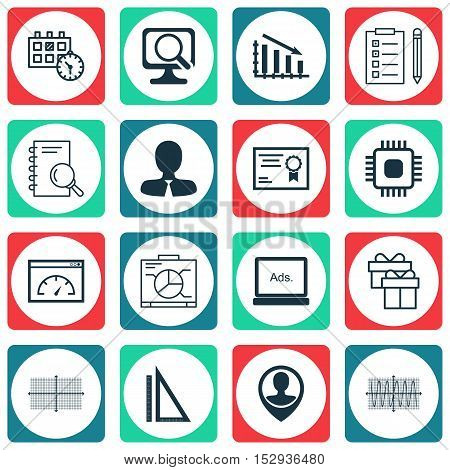 Set Of 16 Universal Editable Icons For Human Resources, Education And Traveling Topics. Includes Ico