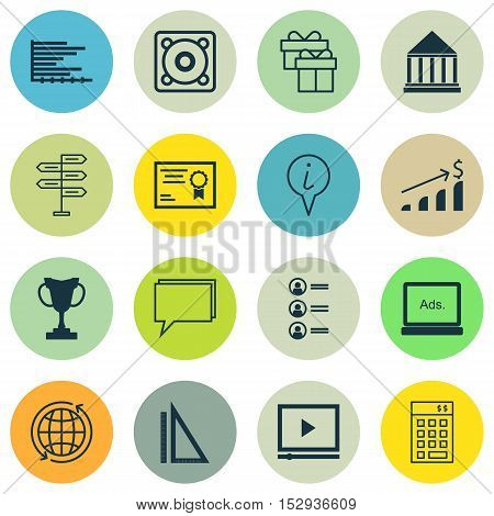 Set Of 16 Universal Editable Icons For Seo, Travel And Advertising Topics. Includes Icons Such As Ba