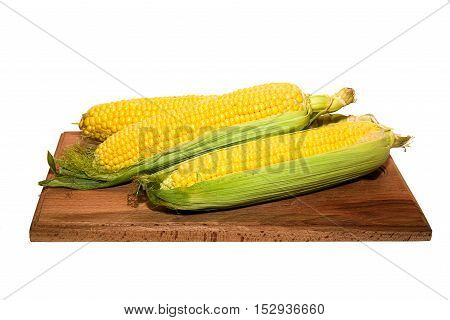 The fruit of the corn on over white