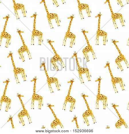 Seamless pattern with yellow giraffe.Watercolor hand drawn illustration.White background.Animals image.