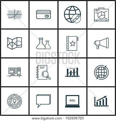 Set Of 16 Universal Editable Icons For Statistics, Transportation And Education Topics. Includes Ico