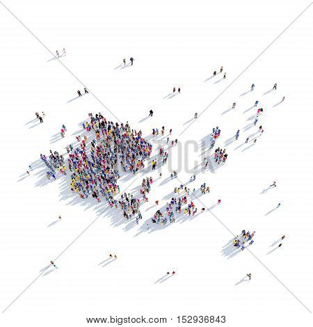 Large and creative group of people gathered together in the form of a map Aland Islands, a map of the world. 3D illustration, isolated against a white background. 3D-rendering.