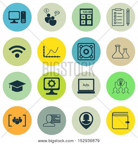Set Of 16 Universal Editable Icons For Business Management, Education And Advertising Topics. Includ
