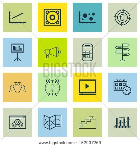 Set Of 16 Universal Editable Icons For Travel, Business Management And Seo Topics. Includes Icons Su