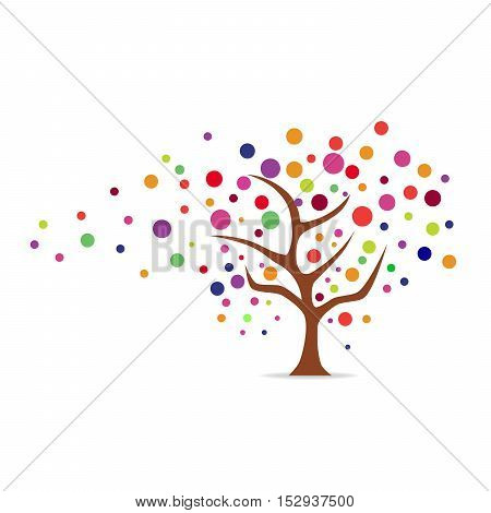 Abstract tree icon in flat design. Sign of tree isolated on white background. Vector illustration.
