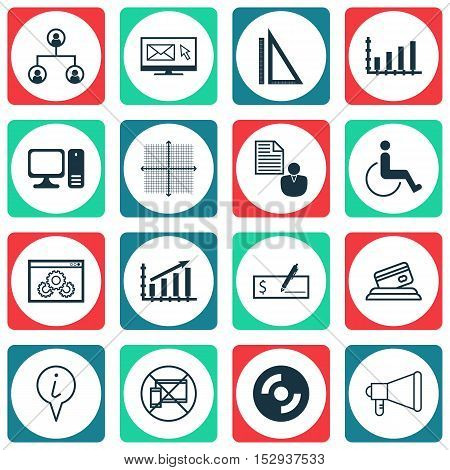 Set Of 16 Universal Editable Icons For Traveling, Management And Statistics Topics. Includes Icons S