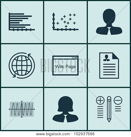 Set Of 9 Universal Editable Icons For Management, Project Management And Advertising Topics. Include